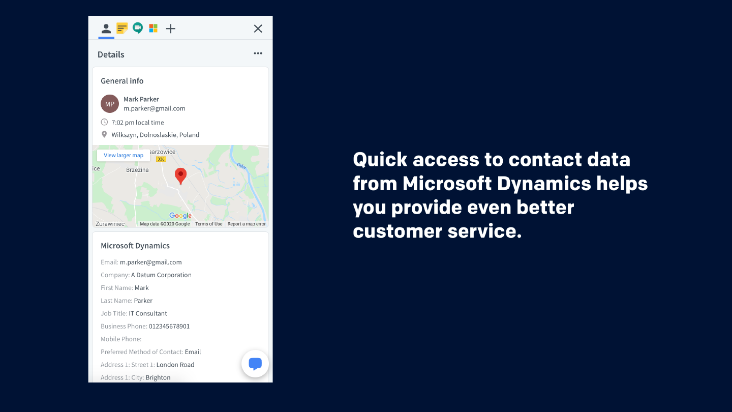 Quick access to contact data