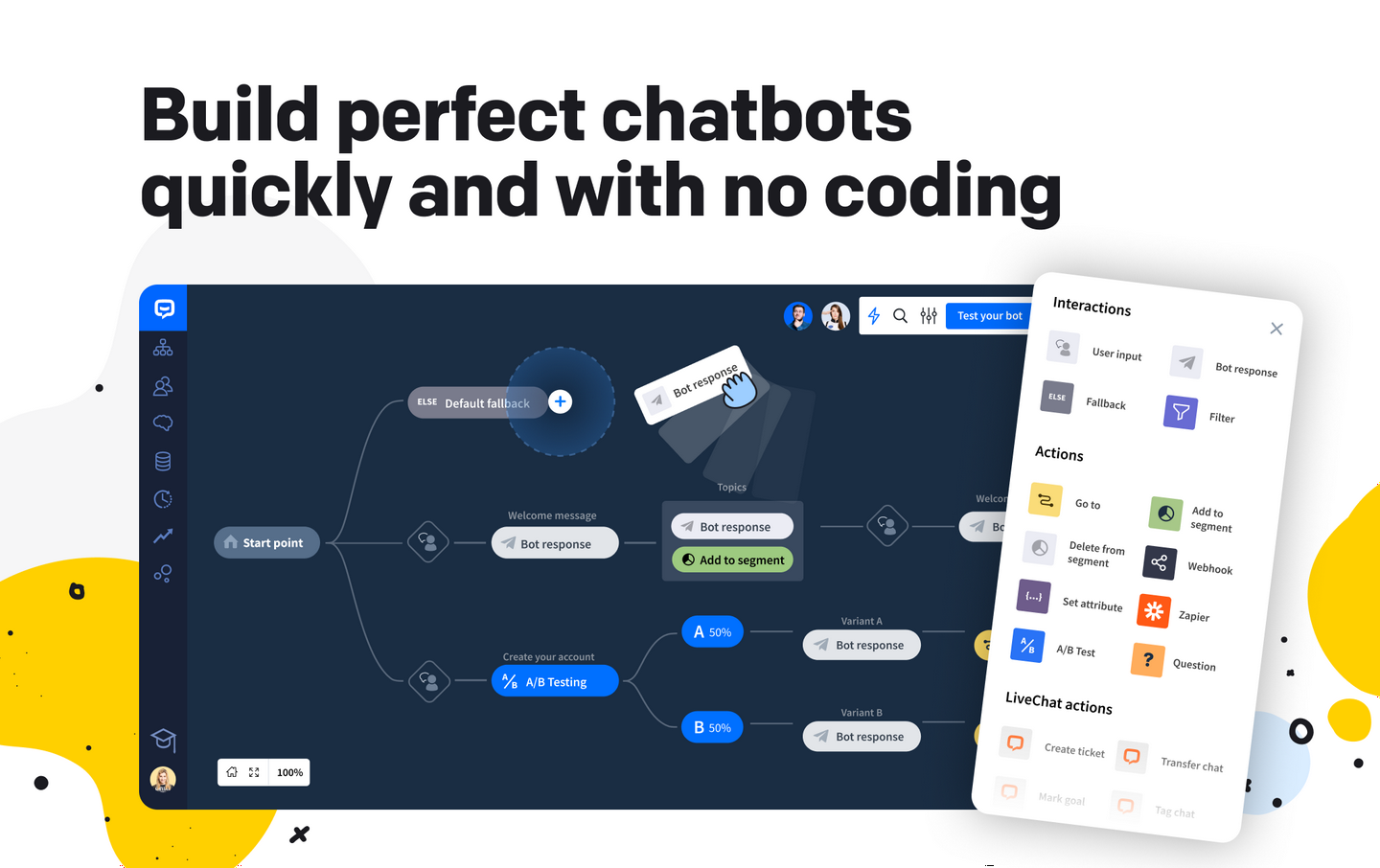 Drag-and-drop chatbot builder