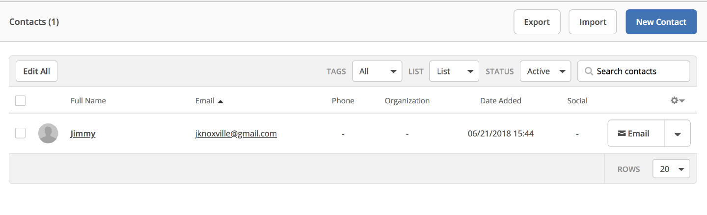 Contact view in ActiveCampaign