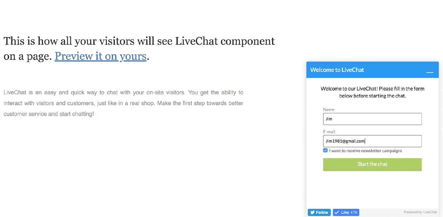 LiveChat with newsletter option