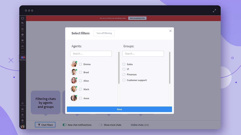 Select chats to monitor
