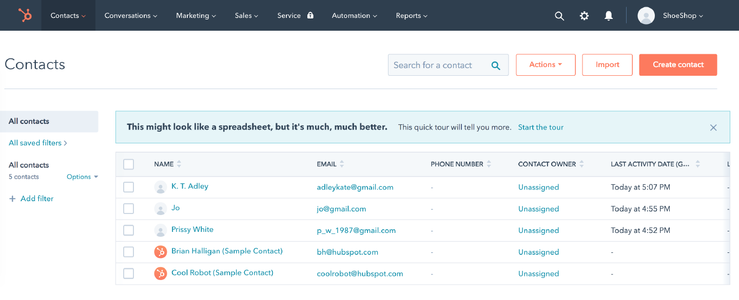 HubSpot: contacts added from LiveChat