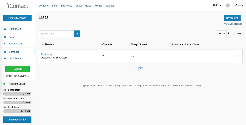 iContact dashboard