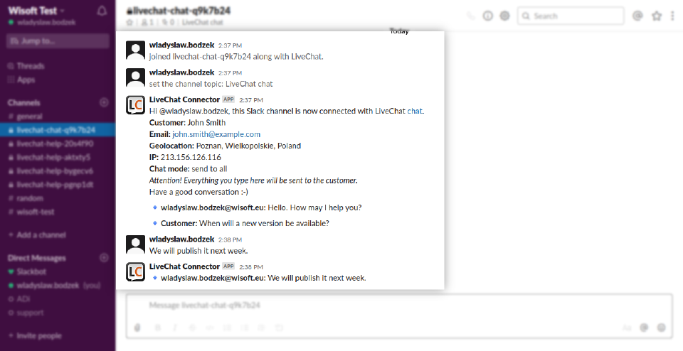Answer Chat from Slack