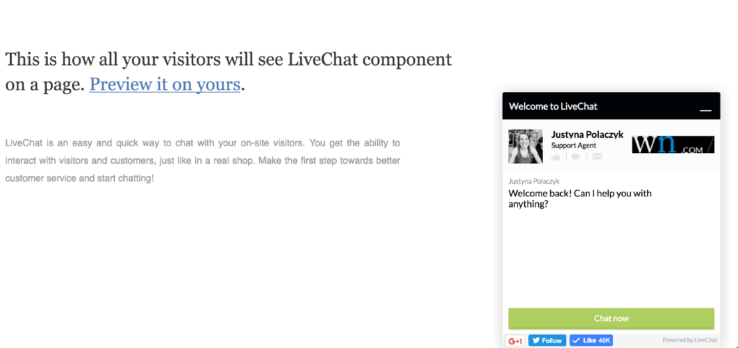 LiveChat widget with Twitter button
