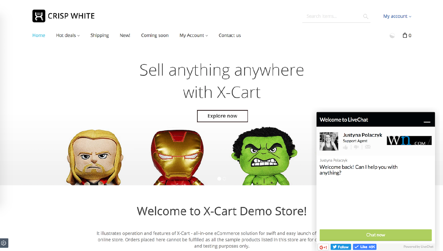 LiveChat on X-Cart website