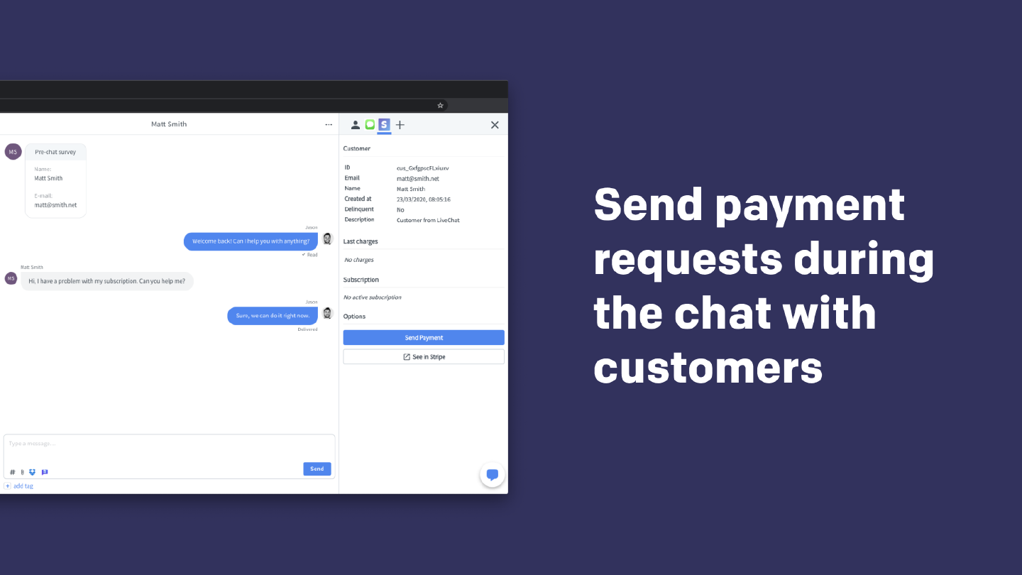 Send payment requests during the chat with customers