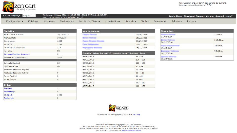 ZenCart dashboard