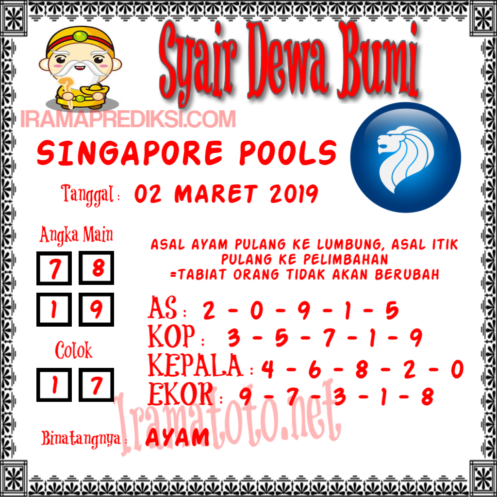 Forum Syair Singapore, Syair sgp